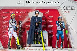 "Felix Neureuther (GER), Manfred Moelgg (ITA) and Henrik Kristoffersen (NOR) during flower ceremony after the FIS Alpine Ski World Cup 2016/17 Men's Slalom race named ""Snow Queen Trophy 2017"", on January 5, 2017 in Course Crveni Spust at Sljeme hill, Zagreb, Croatia. Photo by Ziga Zupan / Sportida"