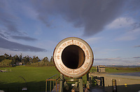Barrel of 10 inch gun mounted on disappering carriage. Battery Worth, Fort Casey State Park, Washington.