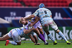 Tomas Francis of Exeter Chiefs is challenged by Wenceslas Lauret of Racing 92 - Mandatory by-line: Ryan Hiscott/JMP - 17/10/2020 - RUGBY - Ashton Gate Stadium - Bristol, England - Exeter Chiefs v Racing 92 - Heineken Champions Cup Final