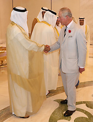 The Prince of Wales is greeted by dignitaries after arriving in Abu Dhabi, United Arab Emirates, during the royal tour of the Middle East.