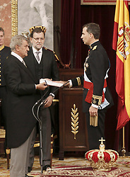 19.06.2014, Congreso de los Diputados, Madrid, ESP, Inthronisierung, König Felipe VI, im spanischen Abgeordnetenhaus, im Bild King Felipe VI of Spain, Mariano Rajoy Spanish President at Congreso de los Diputados // during the Enthronement ceremonies of King Felipe VI at the Congreso de los Diputados in Madrid, Spain on 2014/06/19. EXPA Pictures © 2014, PhotoCredit: EXPA/ Alterphotos/ EFE/Pool<br /> <br /> *****ATTENTION - OUT of ESP, SUI*****