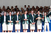 """Henley on Thames, United Kingdom, 8th July 2018, Sunday, View,  """"Fifth day"""", of the annual,  """"Henley Royal Regatta"""", Henley Reach, River Thames, Thames Valley, England, © Peter SPURRIER, Prize Giving, The Remenham Challenge Cup - 2018<br /> Georgina Hope Rinehart National Training Centre Australia,"""