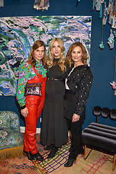 Left to right, Selina Beaudry, Clemmie Myers and Natalie Tredgett at I Am Bateman: The Relations VIP Preview hosted by Selina Beaudry, Clemmie Myers and Natalie Tredgett at 2 Blenheim Crescent, London W11, England. 25 April 2019. <br /> <br /> ***For fees please contact us prior to publication***