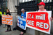 Pro leave protesters outside the Houses of Parliament on 9th September 2019 in London, United Kingdom. Prime Minister Boris Johnson is tabling another motion to seek a general election.