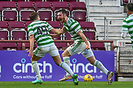 GOAL 1-1 Anthony Ralston (#56) of Celtic FC runs to celebrate after he scores the equalising goal for Celtic during the Cinch SPFL Premiership match between Heart of Midlothian FC and Celtic FC at Tynecastle Park, Edinburgh, Scotland on 31 July 2021.