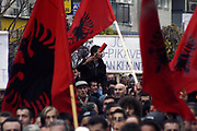 """EULEX must be deployed in agreement with Pristina, not Belgrade<br /> <br /> Pristina, Kosovo<br /> Wednesday, November 19, 2008<br /> <br /> Couple thousands of Kosovo Albanians, citizens from throughout Kosovo started demonstrating in Pristina against the six-point plan proposed by the UN Secretary-General, Ban Ki-Moon, and protestor's called UN SG Ban Ki Moon as Monkey of the UN as they expressed """"Ban Majmuni"""" which in English means (Monkey Ban).<br />  The Head of """"Vetëvendosje"""" Kosovo Self-Determination movement, Albin Kurti, said in front of the protesters that they are gathered to oppose Kosovo's partition and, according to him, if Kosovo is sovereign then its citizens must decide about Kosovo.<br /> <br /> Vedat Xhymshiti / ZUMA Press"""