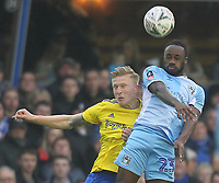 Coventry City's Fankaty Dabo  battles with Birmingham City's Kristian Pedersen <br /> <br /> Photographer Mick Walker/CameraSport<br /> <br /> Emirates FA Cup Fourth Round - Coventry City v Birmingham City - Saturday 25th January 2020 - St Andrew's - Birmingham<br />  <br /> World Copyright © 2020 CameraSport. All rights reserved. 43 Linden Ave. Countesthorpe. Leicester. England. LE8 5PG - Tel: +44 (0) 116 277 4147 - admin@camerasport.com - www.camerasport.com