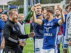 André Riel (Lyngby Boldklub) jubler efter kampen i 3F Superligaen mellem Lyngby Boldklub og Hobro IK den 20. juli 2020 på Lyngby Stadion (Foto: Claus Birch).