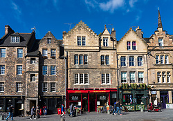 View of historic buildings at Grassmarket in Edinburgh Old Town, Scotland, UK