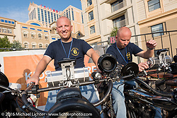 Justin Rinker of Illinois on his 1916 Indian next to his identical twin brother Jared Rinker on another 1916 Indian on the Atlantic City boardwalk at the start of the Motorcycle Cannonball Race of the Century. Stage-1 from Atlantic City, NJ to York, PA. USA. Saturday September 10, 2016. Photography ©2016 Michael Lichter.