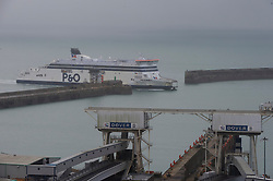 © Licensed to London News Pictures. 12/12/2020. <br /> Dover, UK. A ferry arriving in Dover. Hundreds of lorries continue to queue for a fifth day at the Port of Dover the Channel Tunnel and on the M20 this Saturday afternoon in Kent.The high volume of freight traffic is attributed to the pre-Christmas rush, stockpiling and Coronavirus vaccine delivery. Photo credit:Grant Falvey/LNP