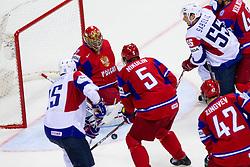 Blaz Gregorc of Slovenia and Robert Sabolic of Slovenia vs Yevgeni Nabokov of Russia during ice-hockey match between Russia and Slovenia of Group A of IIHF 2011 World Championship Slovakia, on May 1, 2011 in Orange Arena, Bratislava, Slovakia. (Photo By Vid Ponikvar / Sportida.com)