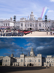 File photo dated 10/05/15 showing the Red Arrows flying over Horse Guards Parade during the VE Day Parade to mark the 70th anniversary of VE Day, at Whitehall in London, marking the end of the Second World War in Europe now 75 years ago, and how it looked 2/5/2020.