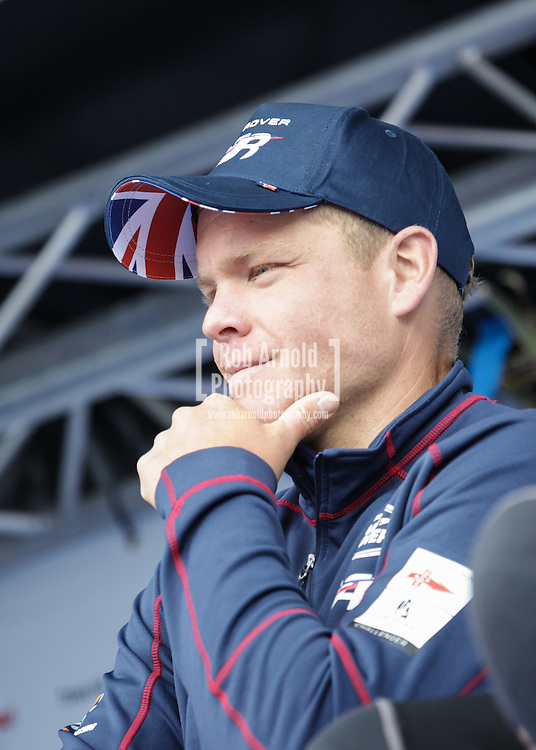 Team Land Rover BAR's David Carr in Portsmouth following the first day of sailing at the America's Cup Series event.