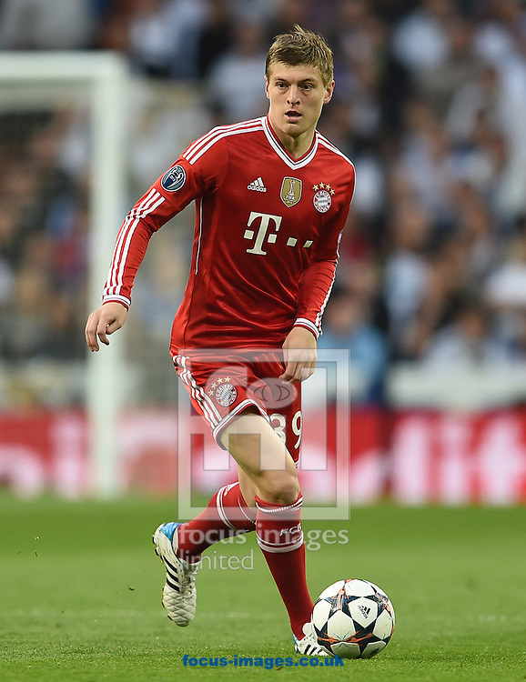 Toni Kroos of Bayern Munich during the UEFA Champions League match against Real Madrid at the Estadio Santiago Bernabeu, Madrid<br /> Picture by Andrew Timms/Focus Images Ltd +44 7917 236526<br /> 23/04/2014