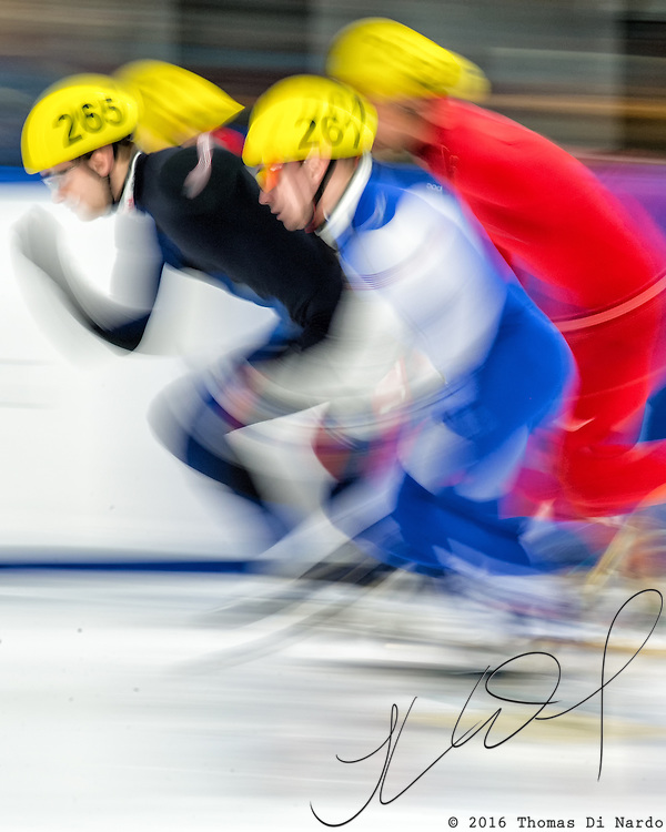 March 20, 2016 - Verona, WI - Ryan Pivirotto, skater number 261 competes in US Speedskating Short Track Age Group Nationals and AmCup Final held at the Verona Ice Arena.