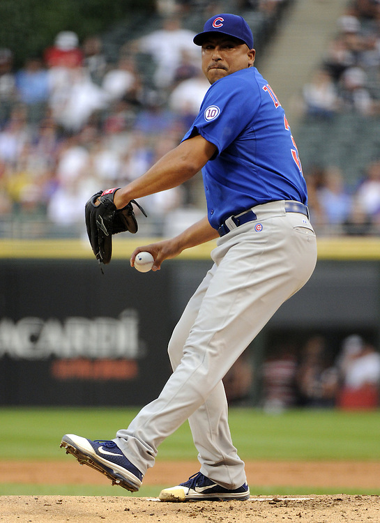 CHICAGO - JUNE 20:  Carlos Zambrano #38 of the Chicago Cubs pitches against the Chicago White Sox on June 20, 2011 at U.S. Cellular Field in Chicago, Illinois.  The Cubs defeated the White Sox 6-3.  (Photo by Ron Vesely)  Subject:  Carlos Zambrano