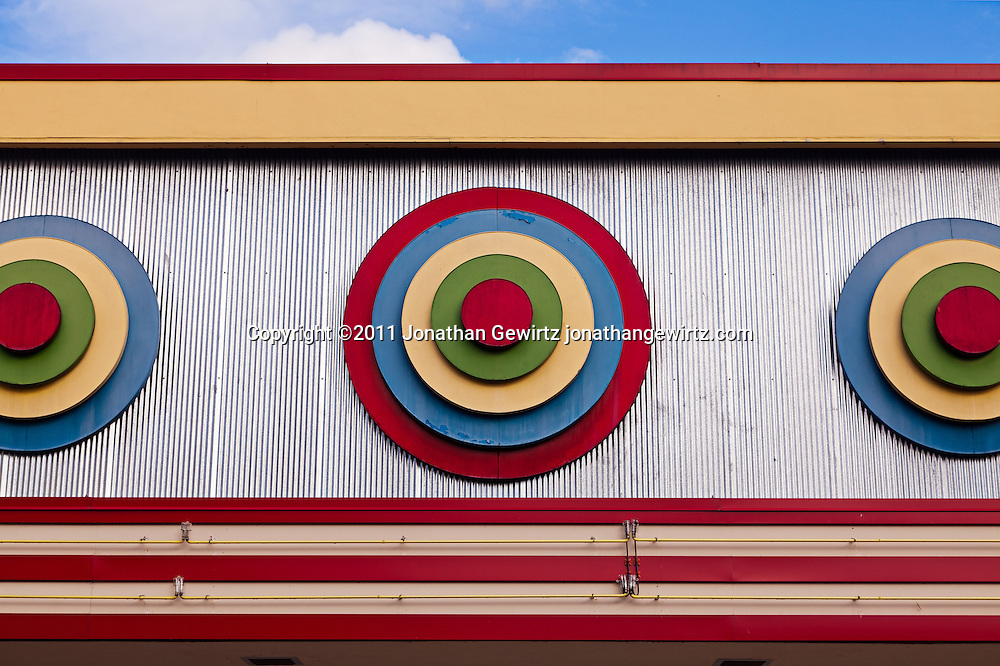 Bullseye deco architecture on the main arcade building at Glen Echo Park, Maryland. WATERMARKS WILL NOT APPEAR ON PRINTS OR LICENSED IMAGES.