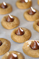 Chocolate kiss topped peanut butter cookie