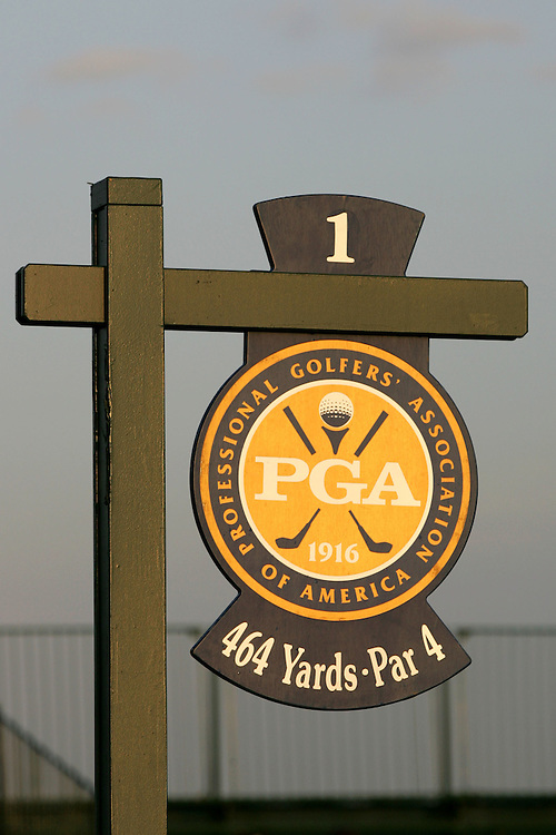 09 August 2007: The 1st tee box marker prior to the start of the first round of the 89th PGA Championship at Southern Hills Country Club in Tulsa, OK.