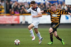 Falkirk's Kieran Duffie and Alloa Athletic's Declan McManus.<br /> Half time : Alloa Athletic 0 v 0 Falkirk, Scottish Championship 12/10/2013. played at Recreation Park, Alloa.<br /> ©Michael Schofield.