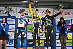 February 9, 2019 - Lille U23, BELGIUM - Belgian Lander Loockx, Belgian Niels Derveaux and Belgian Andreas Goeman pictured on the podium after the U23 race of the Krawatencross cyclocross in Lille, the eighth and last stage in the DVV Trofee Cyclocross competition, Saturday 09 February 2019. BELGA PHOTO DAVID STOCKMAN (Credit Image: © David Stockman/Belga via ZUMA Press)