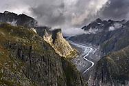 The Fiescher Glacier on an overcast morning, Valais, Switzerland