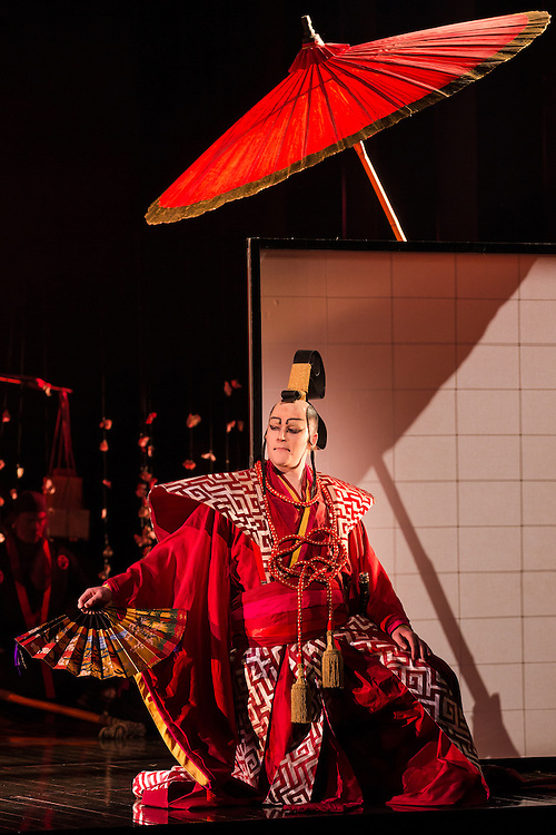 """LONDON, UK, 14 May, 2016. Matthew Durkan (as Prince Yamadori) rehearses for the revival of director Anthony Minghella's production of Puccini's opera """"Madam Butterfly"""" at the London Coliseum for the English National Opera. The production opens on 16 May. Photo credit: Scott Rylander."""