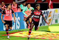 SAO PAULO, BRAZIL - FEBRUARY 25: Bruno Henrique of CR Flamengo celebrates after scoring is goal ,during a Brasileirao Serie A 2020 match between Sao Paulo FC and CR Flamengo at Morumbi Stadium on February 25, 2021 in Sao Paulo, Brazil. (Photo by MB Media/BPA)