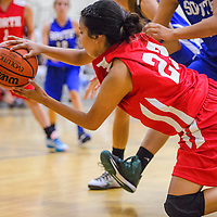 060515       Cable Hoover<br /> <br /> Gallup Bengal Tilea Reyna (23) grabs up a loose ball and passes it to a teammate during the 5A/6A girls allstar basketball game Friday at Volcano Vista High School in Albuquerque.