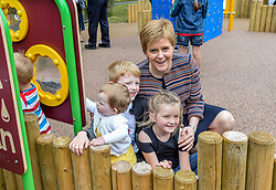 Pictured: Nicola Sturgeon meets children on one forts.<br /> <br /> <br /> First Minister Nicola Sturgeon opened Scotland's largest 'inclusive' play park at Pittencrief Park in Dunfermline.<br /> <br /> © Dave Johnston/ EEm