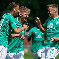27.07.2019, Platz 11, Bremen, GER, RLN, Werder Bremen II vs Lueneburger SC, im Bild<br /> <br /> Marin Pudic (SV Werder Bremen II, 14),  Luc Ihorst (SV Werder Bremen II, 25) und Henry Rorig (SV Werder Bremen II, 15) mit Torjubel, Jubel, Freude über das Tor zum 1:0<br /> <br /> <br /> Foto © nordphoto / Baumgart