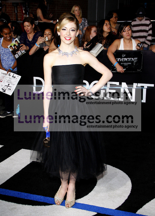 """Gracie Gold at the Los Angeles premiere of """"Divergent"""" held at the Regency Bruin Theatre in Westwood, USA on March 18, 2014."""