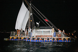 05 April 2011. St Maarten, Antilles, Caribbean.<br /> After more than 9 weeks at sea, having started in the Canary islands, the 'Antiki' transatlantic raft gets set to arrive in St Maarten in the Caribbean following an epic voyage. The incredible vessel is crewed by Anthony Smith (84 yrs old) British adventurer, David Hildred, sailing master and British Virgin Islands resident, Dr Andrew Bainbridge of Alberta, Canada and John Russell, solicitor and UK resident.<br /> Photo; Photo; Charlie Varley/varleypix.com