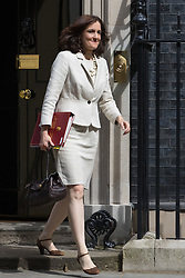 Downing Street, London, May 17th 2016. Northern Ireland Secretary Theresa Villiers leaves the weekly cabinet meeting in Downing Street.