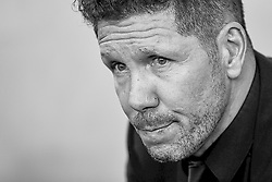 October 20, 2018 - Vila-Real, Castellon, Spain - (EDITORS NOTE: the image has been converted to black and white) Diego Pablo Simeone head coach of Atletico de Madrid looks on prior to the La Liga match between Villarreal CF and Atletico de Madrid at Estadio de la Ceramica on October 20, 2018 in Vila-real, Spain  (Credit Image: © David Aliaga/NurPhoto via ZUMA Press)