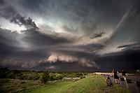 Storm chasers photograph a tornadic supercell near Waynoka, Oklahoma, May 29, 2018.