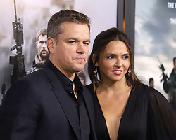 """Matt Damon and Luciana Barroso attend the premiere of """"12 Strong"""" at Jazz at Lincoln Center's Frederick P. Rose Hall in New York"""