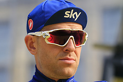 Ian Stannard (GBR) Team Sky at the team presentation in Antwerp before the start of the 2019 Ronde Van Vlaanderen 270km from Antwerp to Oudenaarde, Belgium. 7th April 2019.<br /> Picture: Eoin Clarke | Cyclefile<br /> <br /> All photos usage must carry mandatory copyright credit (© Cyclefile | Eoin Clarke)