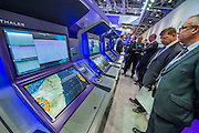 The Thales stand focuses on drone technology from the drones themselves to the ground controllers and simulators - The DSEI (Defence and Security Equipment International) exhibition at the Excel Centre, Docklands, London UK 15 Sept 2015