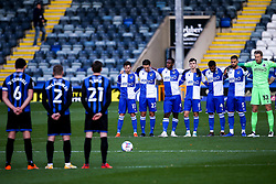 A minutes silence is held between Rochdale and Bristol Rovers in the memory of former Manchester United and England player Nobby Stiles who passed away recently - Mandatory by-line: Robbie Stephenson/JMP - 31/10/2020 - FOOTBALL - Crown Oil Arena - Rochdale, England - Rochdale v Bristol Rovers - Sky Bet League One