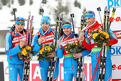 11.12.2011, Biathlonzentrum, Hochfilzen, AUT, E.ON IBU Weltcup, 2. Biathlon, Hochfilzen, Staffel Herren, im Bild zweitplazierte Shipulin Anton (Team Russia) Makoveev Andrei (Team Russia) Ustyugov Evgeny (Team Russia) Malyshko Dmitry (Team Russia) // during Team Relay E.ON IBU World Cup 2th Biathlon, Hochfilzen, Austria on 2011/12/11. EXPA Pictures © 2011. EXPA Pictures © 2011, PhotoCredit: EXPA/ nph/ Straubmeier..***** ATTENTION - OUT OF GER, CRO *****
