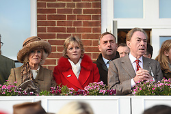 November 28, 2016 - Newbury, United Kingdom - Image licensed to i-Images Picture Agency. 26/11/2016. Newbury, United Kingdom. Camilla, Duchess of Cornwall, Madeline Gurdon and Andrew Lloyd Webber at the Hennessy Gold Cup at Newbury racecourse, United Kingdom. Picture by ROTA / i-Images  UK OUT (Credit Image: © Rota/i-Images via ZUMA Wire)