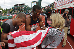 2012 USA Track & Field Olympic Trials: Mitchell, Young sign flag