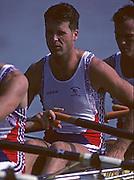 Barcelona, SPAIN.   GBR M4X, Roger BROWN, 1992 Olympic Rowing Regatta Lake Banyoles, Catalonia [Mandatory Credit Peter Spurrier/ Intersport Images]