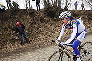 Belgium, March 31 2013: Eventual winner, Marianne Vos, RABO WOMEN CYCLING TEAM on the Oude-Kwaremont climb in the women's Ronde van Vlaandaren 2013 race. Copyright 2013 Peter Horrell.