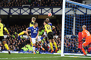 Arouna Kone of Everton © heads the ball and scores his teams 1st goal. The Emirates FA cup, 3rd round match, Everton v Dagenham & Redbridge at Goodison Park in Liverpool on Saturday 9th January 2016.<br /> pic by Chris Stading, Andrew Orchard sports photography.