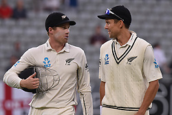 March 26, 2018 - Auckland, Auckland, New Zealand - Henry Nicholls (L) and Trent Boult (R) of Blackcaps head to the dressing room at meal break   during Day Five of the First Test match between New Zealand and England at Eden Park in Auckland on Mar 26, 2018. (Credit Image: © Shirley Kwok/Pacific Press via ZUMA Wire)