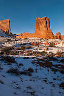 Sheep Rock, Courthouse Towers area, Arches National Park, Utah, winter.