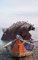 small fishing boat and shipwreck at point San Jacinto, Baja, Mexico